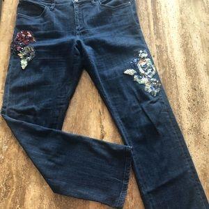 Anthropologie slim boyfriend jeans with appliqué